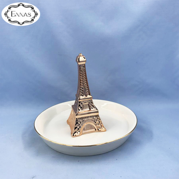 Fine Jewelry Tray Eiffel Tower Ceramic Jewelry Tray