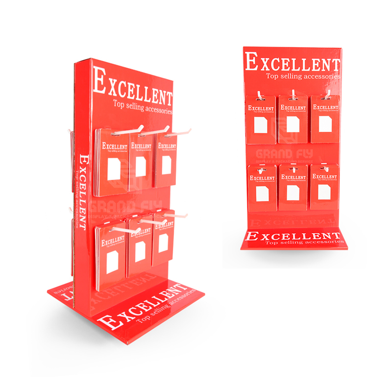 Cell Mobile Phone Case Accessories Counter Top Cardboard Display <strong>Stand</strong> with Hooks, Cardboard Hook Display Rack