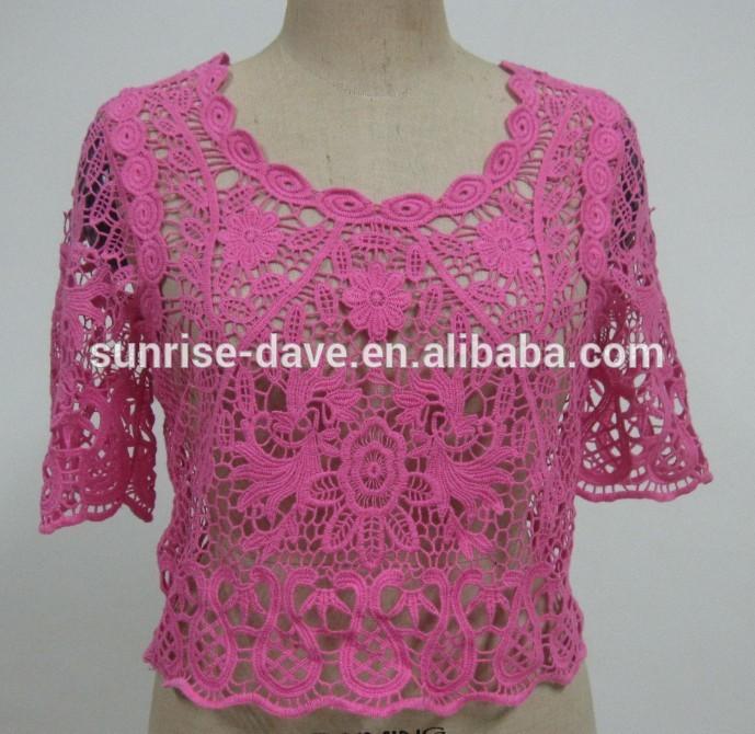 Patrón de ganchillo superior, top de encaje de flores-Mujeres Blusas ...