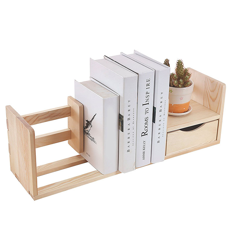 Desktop Bookshelves: Expandable Wood Desktop Bookshelf Adjustable Book Shelf