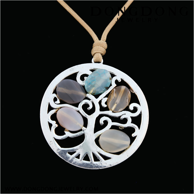 CL028 silver plated tree of life alloy agate pendant fashion jewelry necklace
