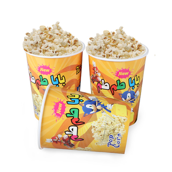 Disposable logo printing take away popcorn bucket size from 32oz to 65 oz china factory wholesale