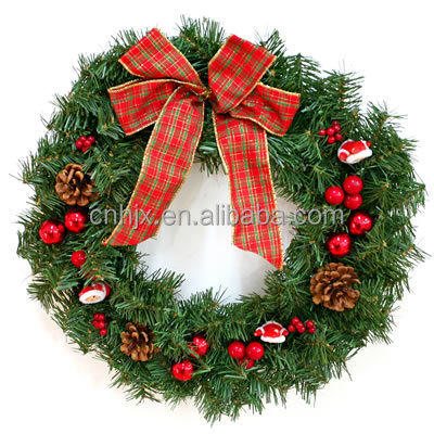 2015 New Style Red Bowknot PVC Artificial Christmas Wreath