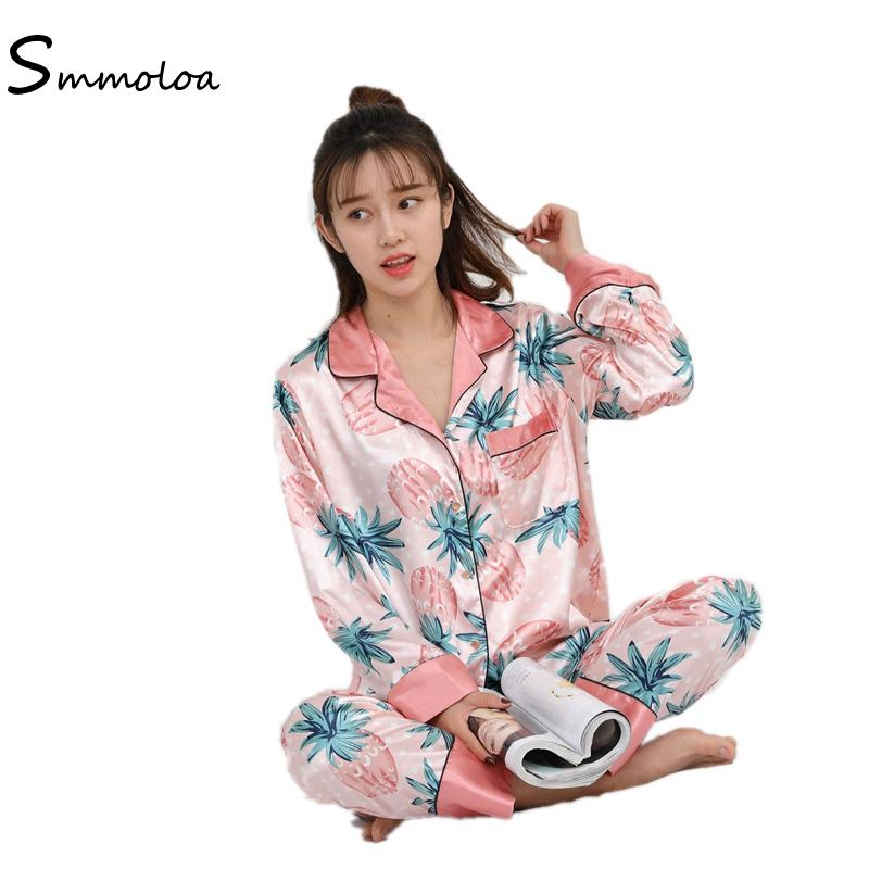 Smmoloa Long Sleeve Women Floral Print Silk Pajamas Satin Pijamas ... 8d96d4c20