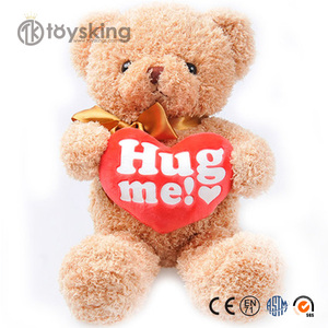 Plush Stuffed Teddy bear Hold Red Heart with Hug me! printed or personal logo custom