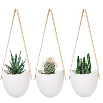 Ceramic leather strap Hanging Planter Succulent Air Plant Flower Pot wall half round flower pot