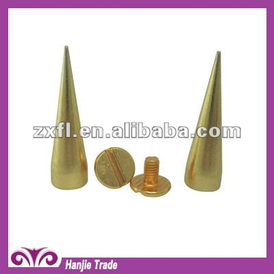 Wholesale Brass Cone Screw On Punk Spikes for Leather Jacket