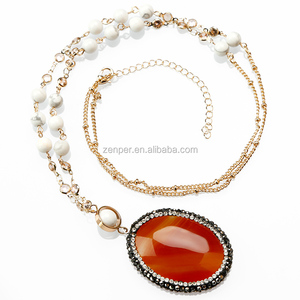 Natural Gemstone Necklace Druzy Red Agate Oval Pendant Necklace Round Rhinestone Necklace