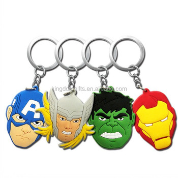 Avengers decorated with a super hero cartoon PVC key ring keychain