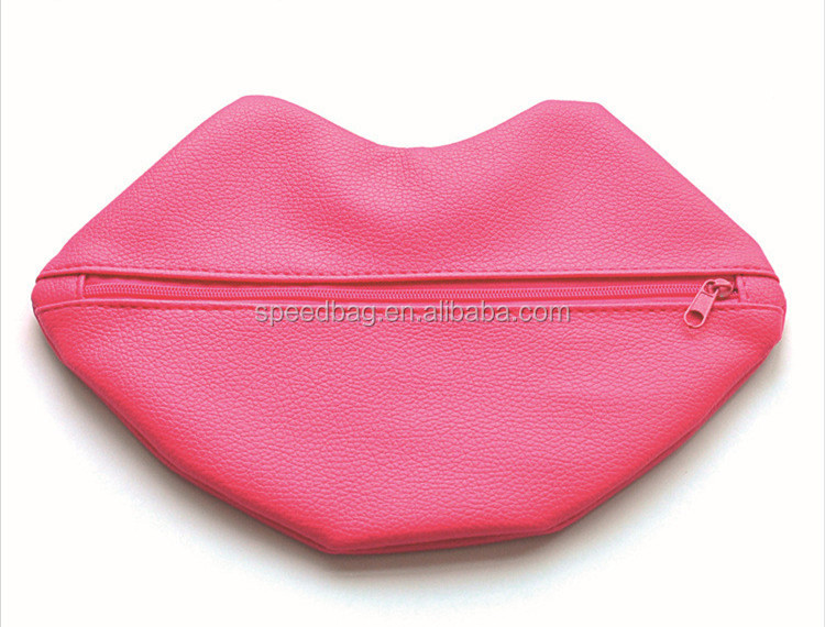 Women red PU leather lip shape zipper cosmetic bag with logo for promotion