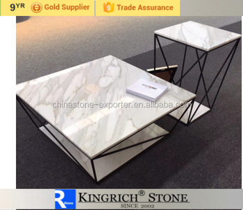 Hot Style Marble Coffee Table Metal Desk Legs White Marble Table