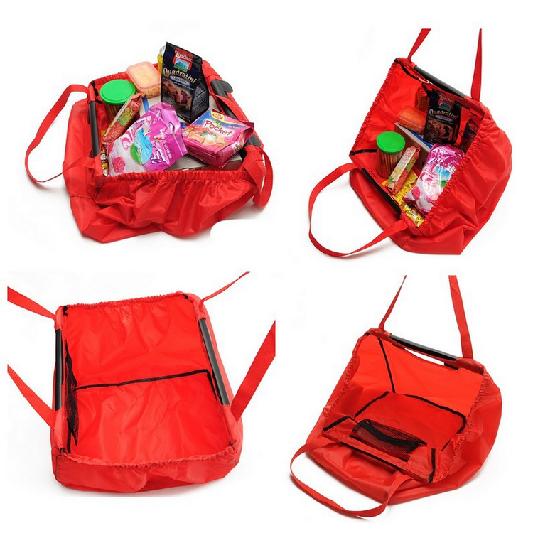 Folding Nylon Ping Cart Bag Bulk Reusable Bags With Compartments