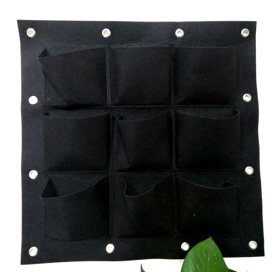 Alibaba China suppliers eco-friendly hanging wall vertical garden 9-pockets felt planter bag