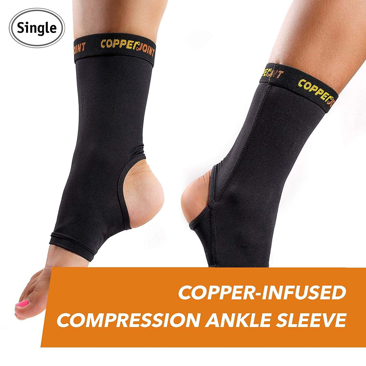 d7240252c2 Get Quotations · CopperJoint Copper-Infused Compression Ankle Sleeve,  High-Performance, Breathable Design Provides Comfortable