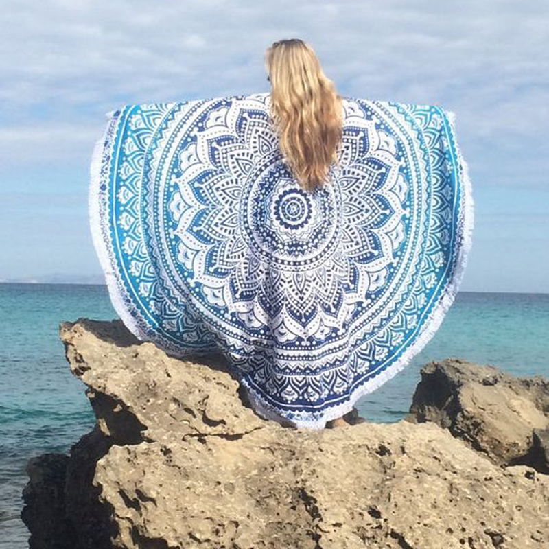 round beach towel geometric printed bath tassels 150x150cm beach round towels circle serviette. Black Bedroom Furniture Sets. Home Design Ideas