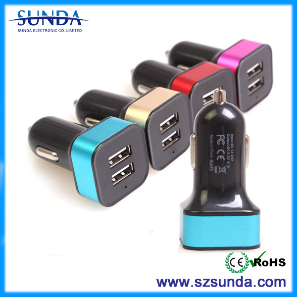 car bettery charger 5V 3.1A dual usb car charger with led ring light