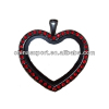 Red Crystal Black Heart Floating Charm Locket