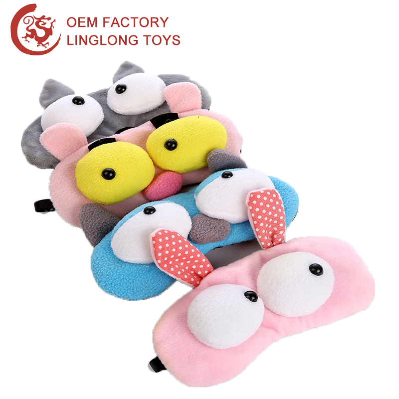 Manufacture Custom Polar Fleece Eye Patch Big Eyes Stuffed Goggles Cartoon Rabbit Frog Ice Gel Snoring Mask Cover