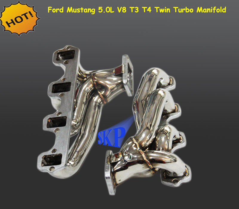 Mustang V6 Turbo Kits: Stainless Steel Turbo Manifold For Ford Mustang 5.0l V8 T3