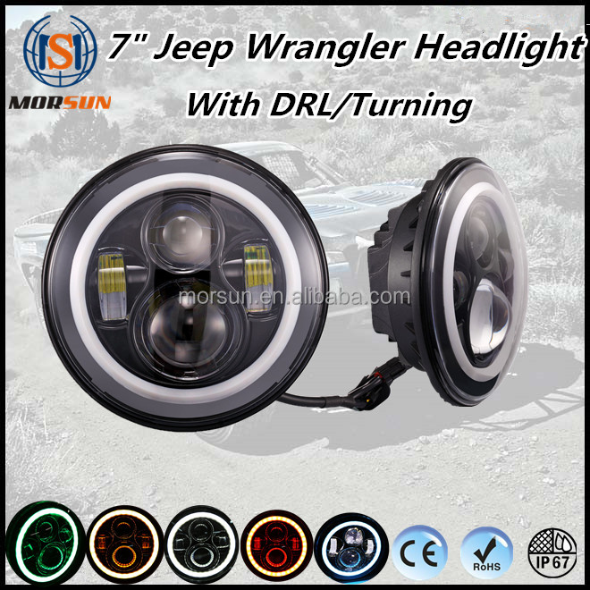 Morsun Off road led Headlight 7inch round angel eyes headlight Jeep Wrangler led headlamp 7""