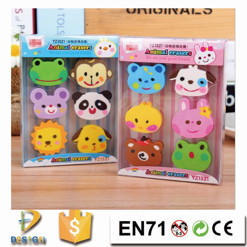 2015 cartoon stationery animal zoo creative rubber eraser