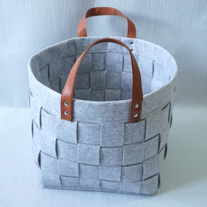 Alibaba Express Christmas gift felt storage basket, folding square felt firewood basket with lowest price