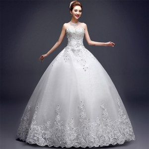 New arrival Korean fashion luxury corset embroidered flower wedding dress ball gown