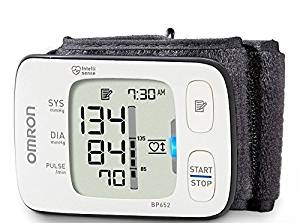 Omron 7 Series Wrist Blood Pressure Monitor - BP652 - For Pulse Rate, Blood Pressure - Two User Mode, BP Level Indicator, Built-in Memory, Time Function, Date Function, Single Button Operation, Average Function, Adjustable Cuff, Extra Large Display, Irregular Heartbeat Detection, Heart Guide