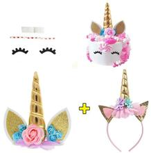 Hot Girls วันเกิด Gold Unicorn Theme Party ชุด Headband & เค้ก topper Amazon FBA Supply