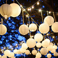 Chinese round paper lanterns [Party Stars] Perfect Paper Lantern - White - (10 Pack) for events/party/festival