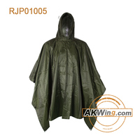 Rain Coat Poncho Ripstop Green Army Military Camping Wet Weather Basha