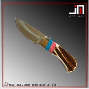 New Hunting Knife With Color Stone Bone Handle