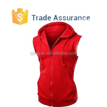 e4bd24b3 Los nuevos hombres de rojo con cremallera Sudadera con capucha sin mangas  sudadera de gimnasio Sudadera