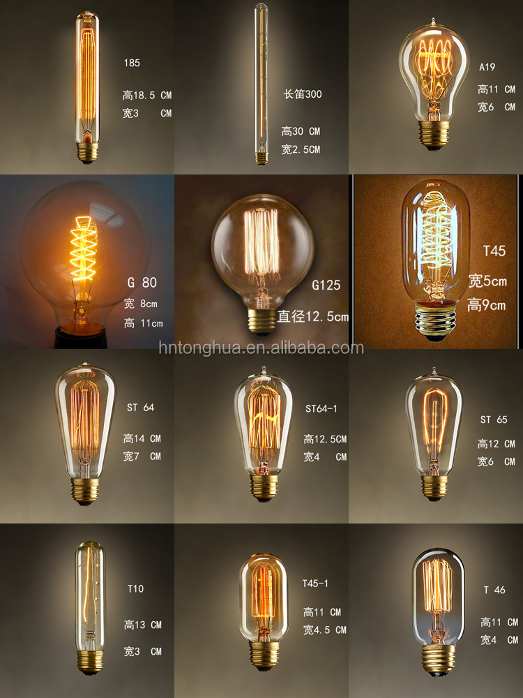 Carbon Filament Bulb B22 E27 110v,230v Edison Bulbs T45 Antique 40 ...