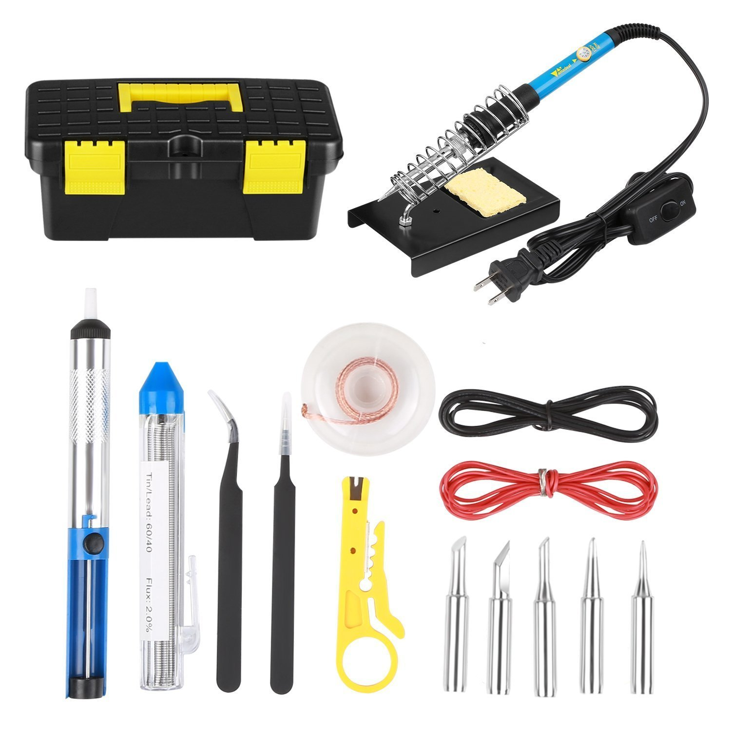 Amzdeal Soldering Iron Kit 60W 15 in 1 Soldering Tools Adjustable Temperature Welding Tool with 5 Changeable Soldering Tips, Soldering Iron Stand, Solder Sucker for DIY Projectsand Repairing