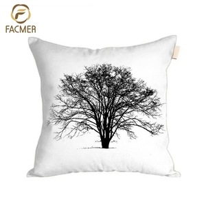 2018 latest arrival sketch style elegant tree designed decorative digital printing cushions