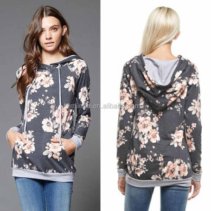 bangladesh wholesale clothing Sweet Floral French Terry floral long sleeve Raglan Hoodie With pocket and adjustable drawstring