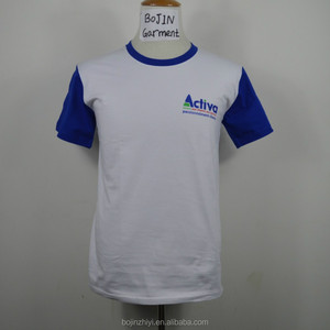 220g warm tshirt with blue printed short sleeve guangzhou bojin garment