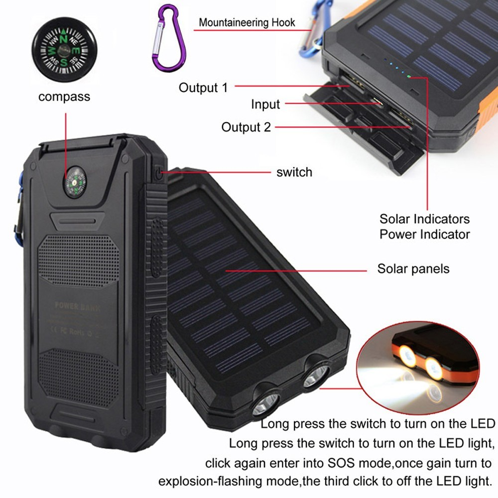 Universal emergency  Dual usb  solar power bank with LED Flashlight  8000mah for ipad tablet  Li-polymer Battery inside