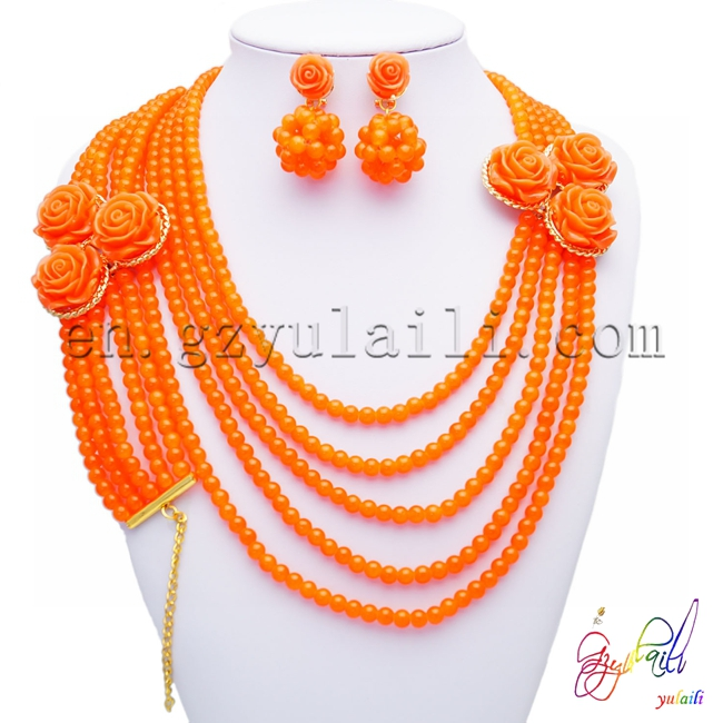 African beautiful long <strong>orange</strong> and blue bead jewellery sets delicate flower shape 18K gold plated jewellery sets for women