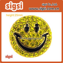 25mm yellow smile face pin round rhinestone brooch