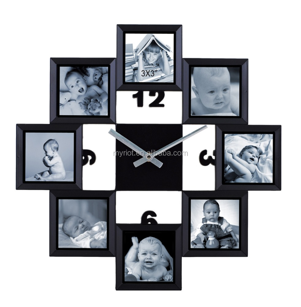 Plastic large clock photo framing for home decorate