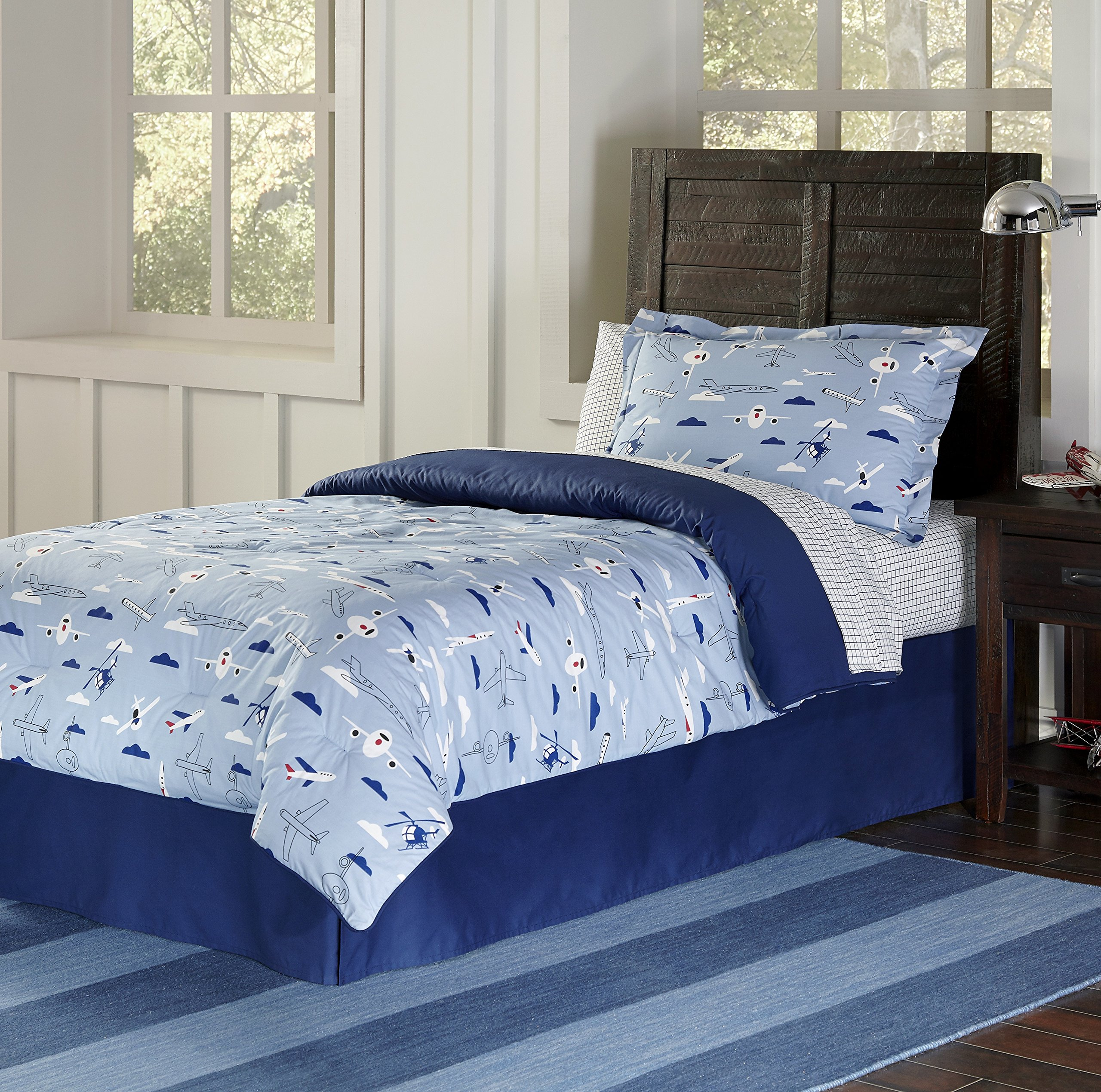 3 Piece Boys Sky Blue Airplane Duvet Full Queen Set, Cute All Over Could Air Planes Bedding, Multi Clouds Helicopor Jet Plane Themed, Passenger Jumbo Jets Pattern, Navy White Red