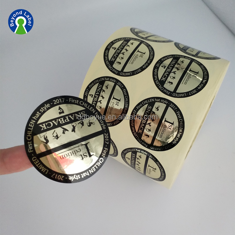 Strong Adhesive waterproof pressure sensitive reflective vinyl silver metallic round glossy label sticker in plastic