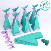 Mermaid Theme Candy Box Birthday Party Supplies Kids Gift Box Mermaid Party Favors Glitter Tail Paper Bag