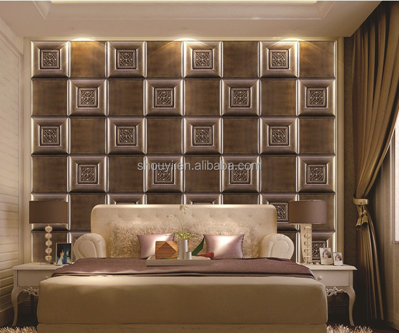 2017 hot selling interior decorative 3d pvc wall panel 3d faux leather panel