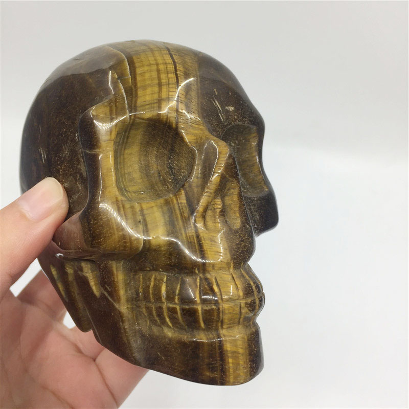 Clearance Sale Natural Stone Carved Skulls Tiger Eye Quartz Skulls