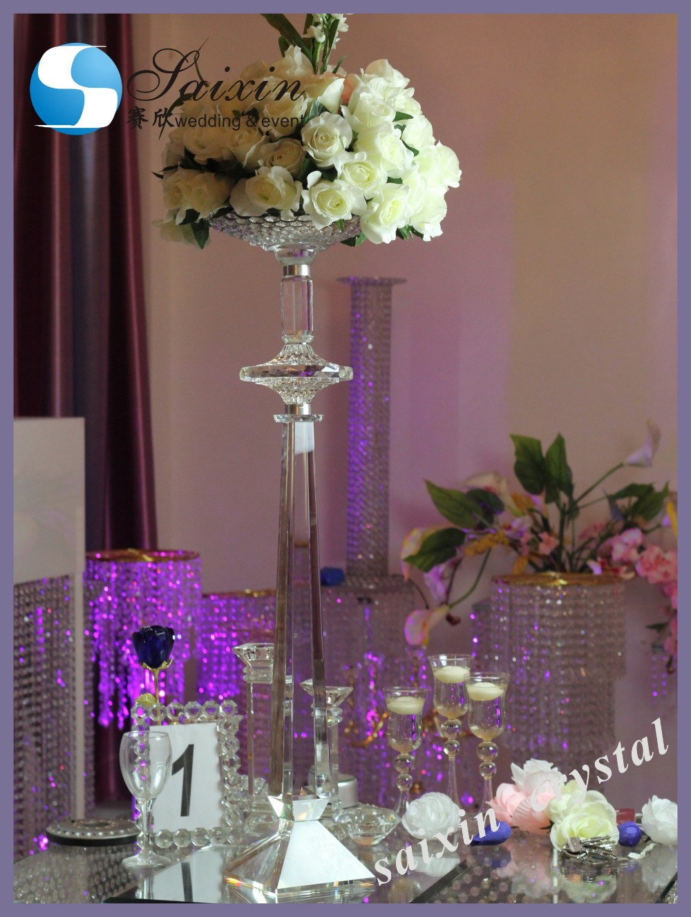 Beautiful Crystal Flower Stand For Wedding Decoration Zt 229
