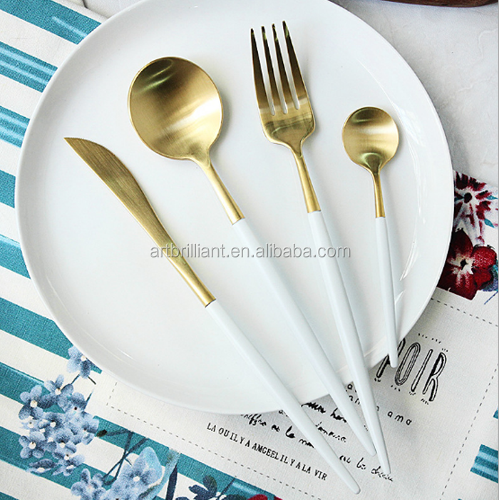 Cutipol Goa Salad Cutlery Set Matt Gold with White Handle