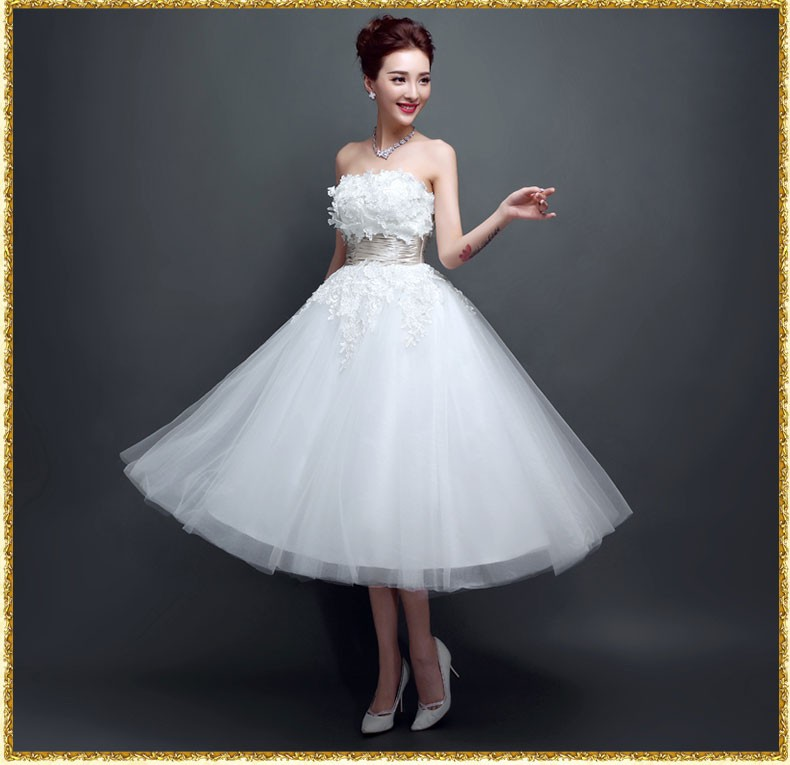 High End New Style Evening Bride Dress Midi Lace Wedding Dresses